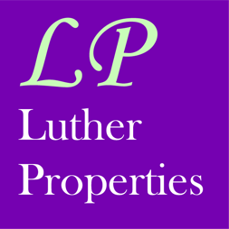 Luther Properties logo with a large LP above the words Luther Properties on a purple background